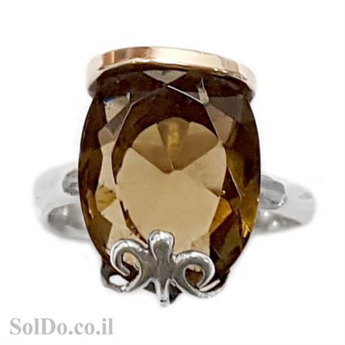 טבעת מכסף מעוצבת בשילוב סמוקי קוורץ  וציפוי זהב RG6011 | תכשיטי כסף 925 | טבעות כסף