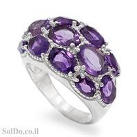 טבעת רחבה מכסף משובצת אבני אמטיסט RG6109 | תכשיטי כסף 925 | טבעות כסף