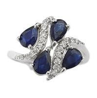 טבעת כסף משובצת אבני ספיר כחולות וזרקונים RG5638 | תכשיטי כסף 925 | טבעות כסף