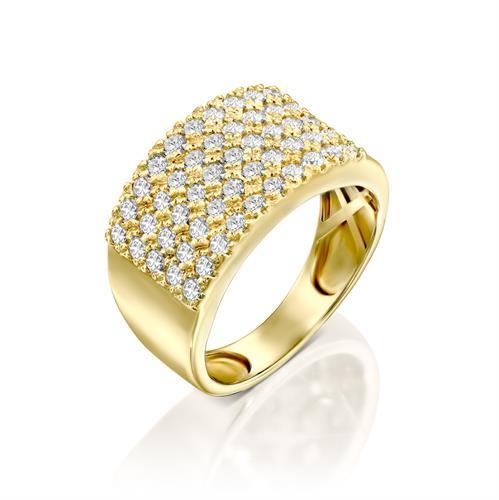 טבעת אליזבת משובצת יהלומים 1 קראט בזהב צהוב או לבן