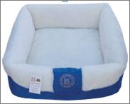 מיטה מלבנית עם פרווה כחול/לבן 19*50*50