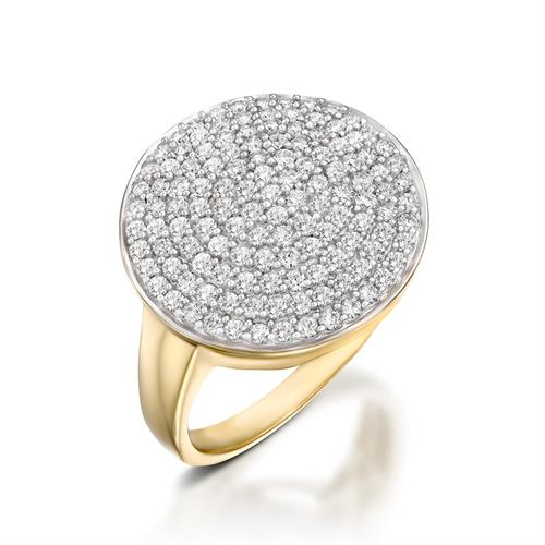 טבעת כיפת היהלום בזהב צהוב או לבן משובצת יהלומים 1 קראט