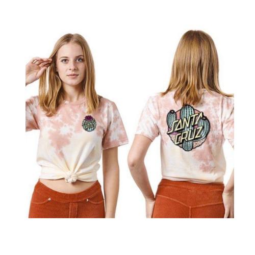 SANTA CRUZ Cactus Dot S/S Boyfriend T-Shirt Rose/Sand Tonal Dye Sm Womens Santa Cruz
