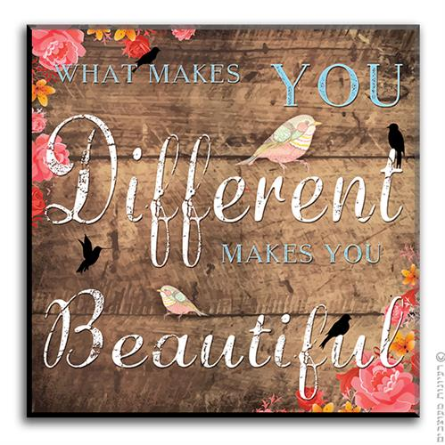שלט השראה Different is Beautiful