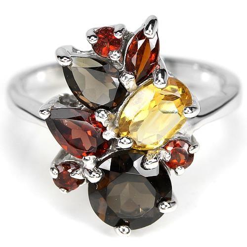טבעת כסף משובצת סמוקי קוורץ, גרנט וסיטרין RG6331 | תכשיטי כסף 925