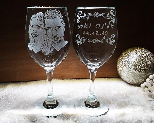 כוסות יין לחתונה | דיוקן אישי | כוסות לחתונה