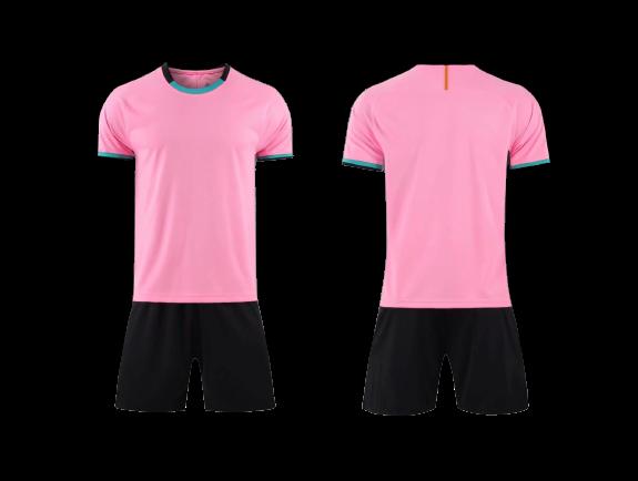תלבושת כדורגל ורודה שחורה דמוי ברצלונה (לוגו+ספונסר שלכם)