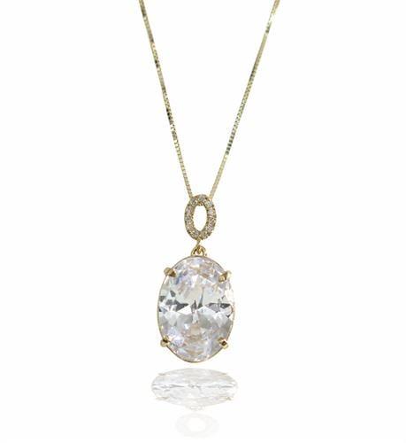 שרשרת ותליון זהב אליפסה יהלומים וזרקון
