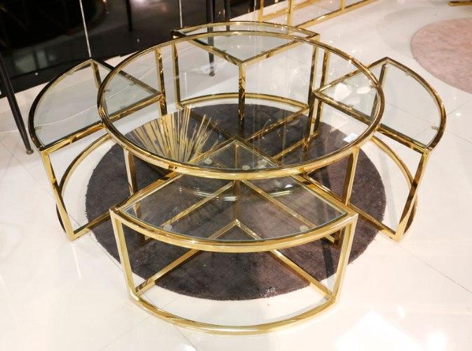 שולחן סלון + 4 שולחנות קטנים נירוסטה