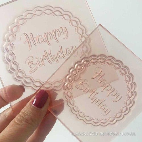 HAPPY BIRTHDAY ROUND SHAPE Cake Topper Embosser   Flexible Polymer Embosser  