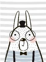 הדפס ב-3 גדלים לבחירה- ארנב עם משקפיים