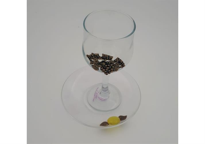 גביע קידוש זכוכית פלקט בורא פרי הגפן