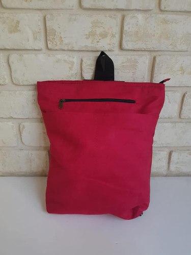 תיק גב - בד לבנת אדום