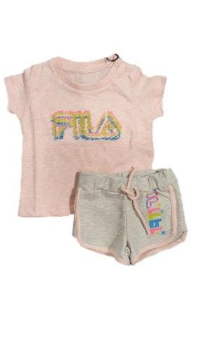 חליפת תינוקות בנות אפור ורוד FILA