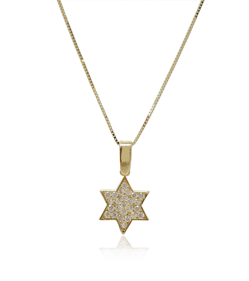 שרשרת ותליון זהב 14 קרט מגן דוד משובץ זרקונים