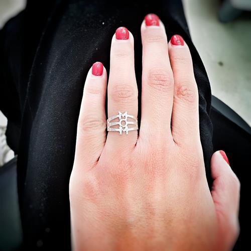 טבעת MOM קטנה כסף 925/גולדפילד