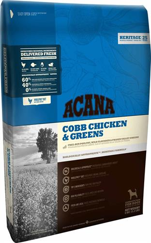 "acana cobb chicken & greens עוף וירקות 11.4 ק""ג"