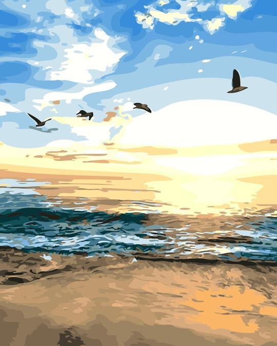 צביעה לפי מספרים - שחר מעל הים