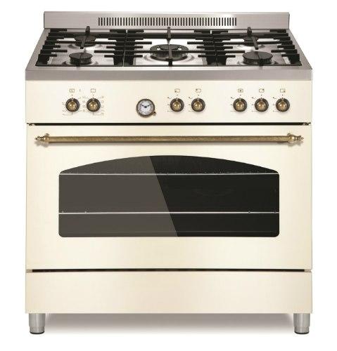 """תנור אפיה 90 ס""""מ לקאזה כפרי משולב כיריים גז LACASA LC9060RC צבע רויאל קרם"""