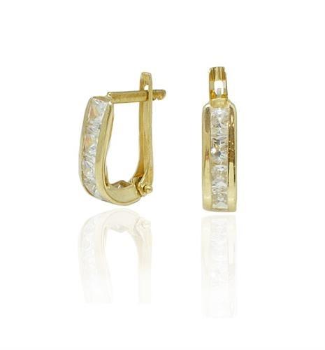 עגילי זהב נתלים עם זרקונים מרובעים