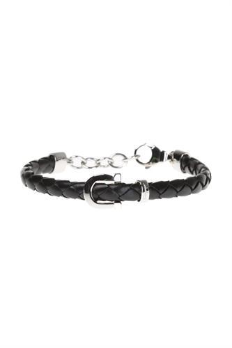 Salvatore Ferragamo  925 silver and leather bracelet