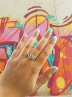 טבעת בלו טופז ויהלומים בזהב 14 קרט