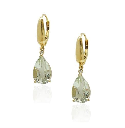 עגילי זהב טיפה בזהב 14 קרט משובצים אבן חן אמטיסט ירוקה