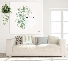 ציור צבעי מים עלים ירוקים סגנון נורדי