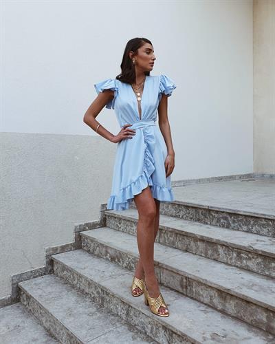 שמלת פנלופי מעטפת - תכלת