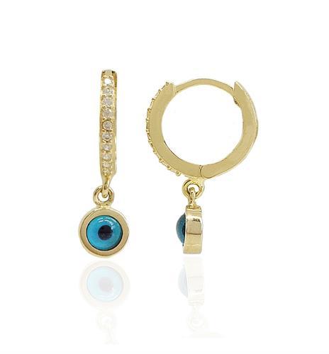 עגילי זהב עין נופלים עם זרקונים מזהב 14 קרט