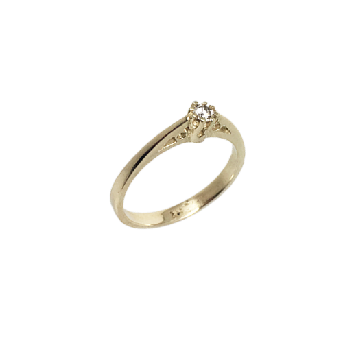 טבעת אירוסין זהב צהוב 14K יהלום מרכזי OP09160064108