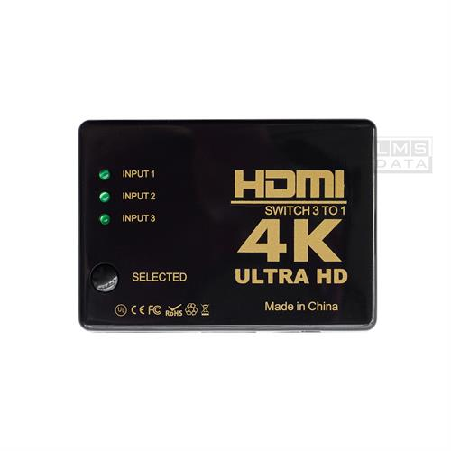 מפצל HDMI לחיבור 3 יציאות HDMI שונות למסך 1 מבית LMS DATA