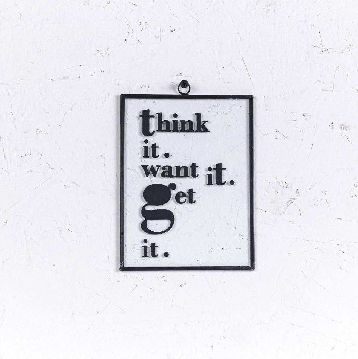 שלט זכוכית בינוני - THINK IT (שחור)