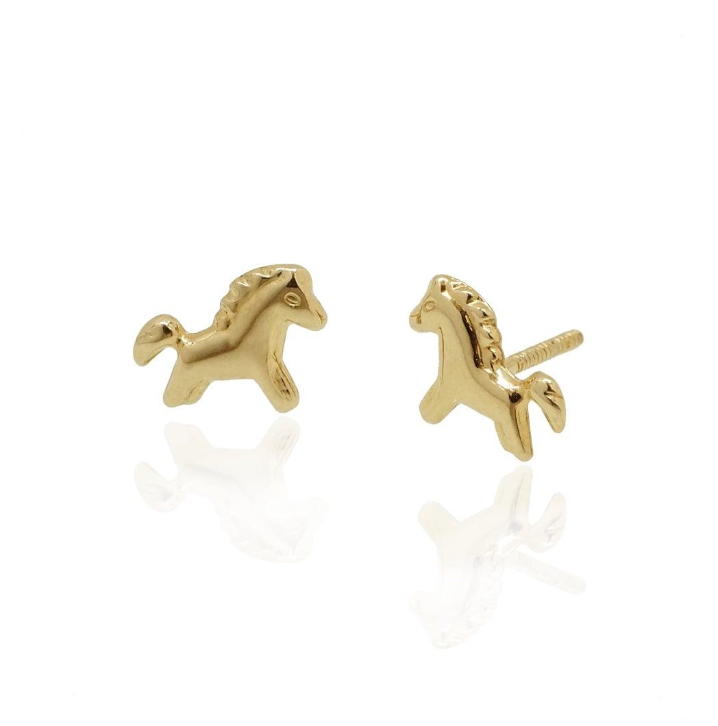 עגילי זהב לילדות סוס קטן חמוד