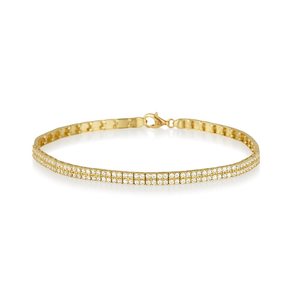 מיוחדים צמיד טניס שתי שורות מזהב 14K - תכשיטי זהב | Askapa KO-75