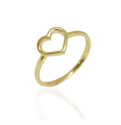 טבעת זהב לב חלול|טבעת זהב לזרת|טבעת אופנתית