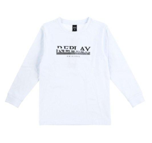 חולצת טישרט לבנה כיתוב REPLAY