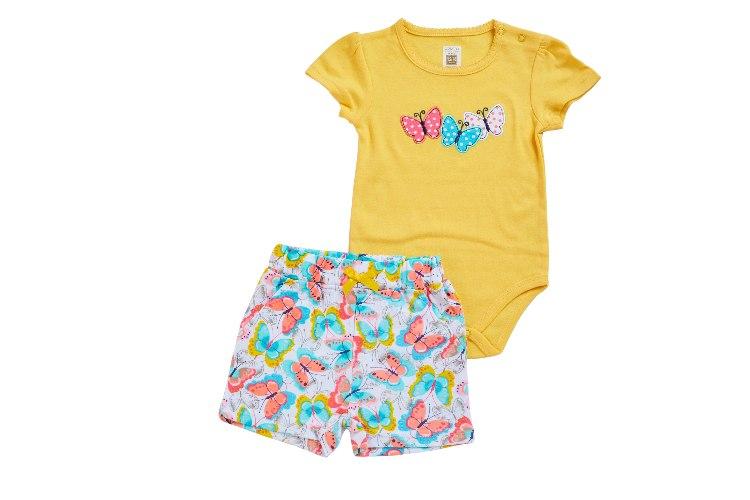 חליפת בגד גוף פרפרים צהוב