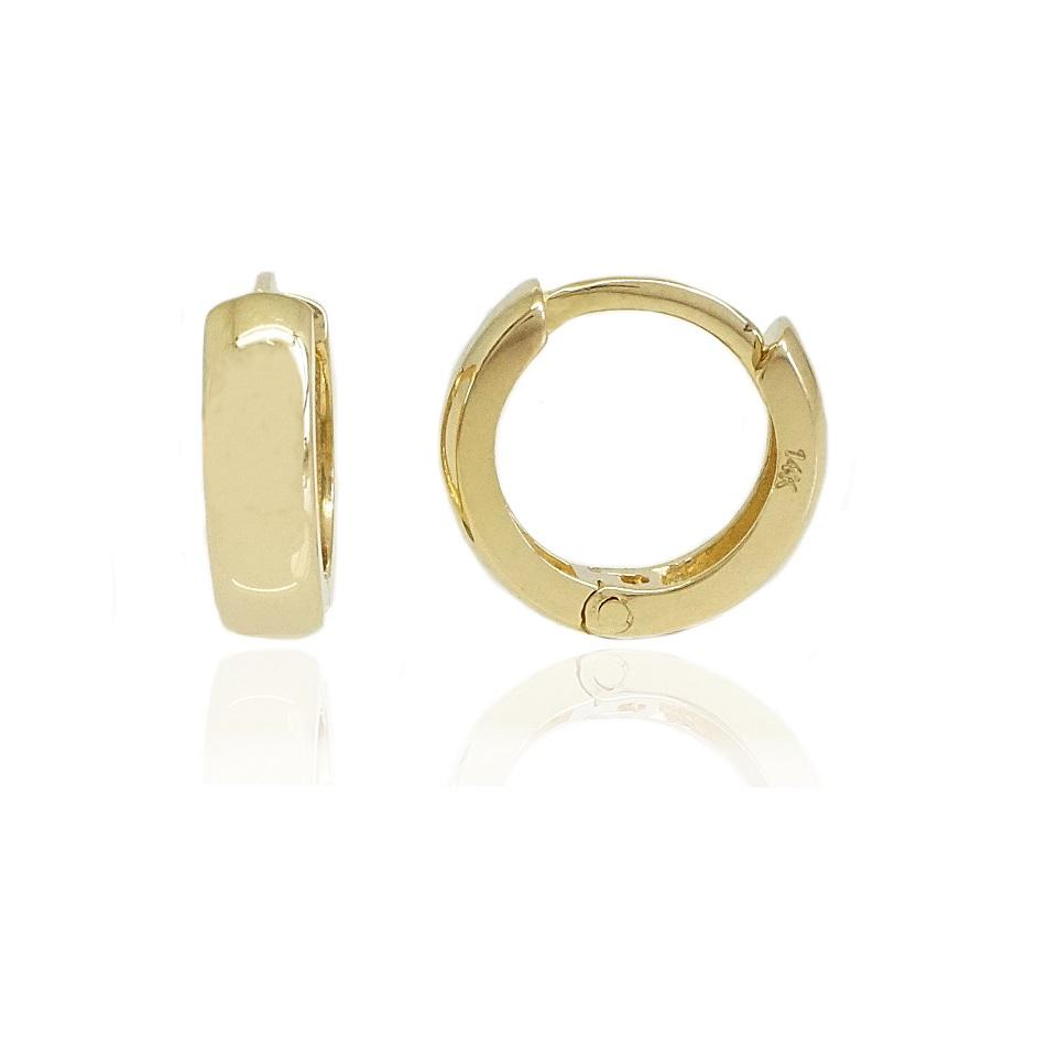 """עגילי חישוק זהב עבים חלקים קטנים 1 ס""""מ"""