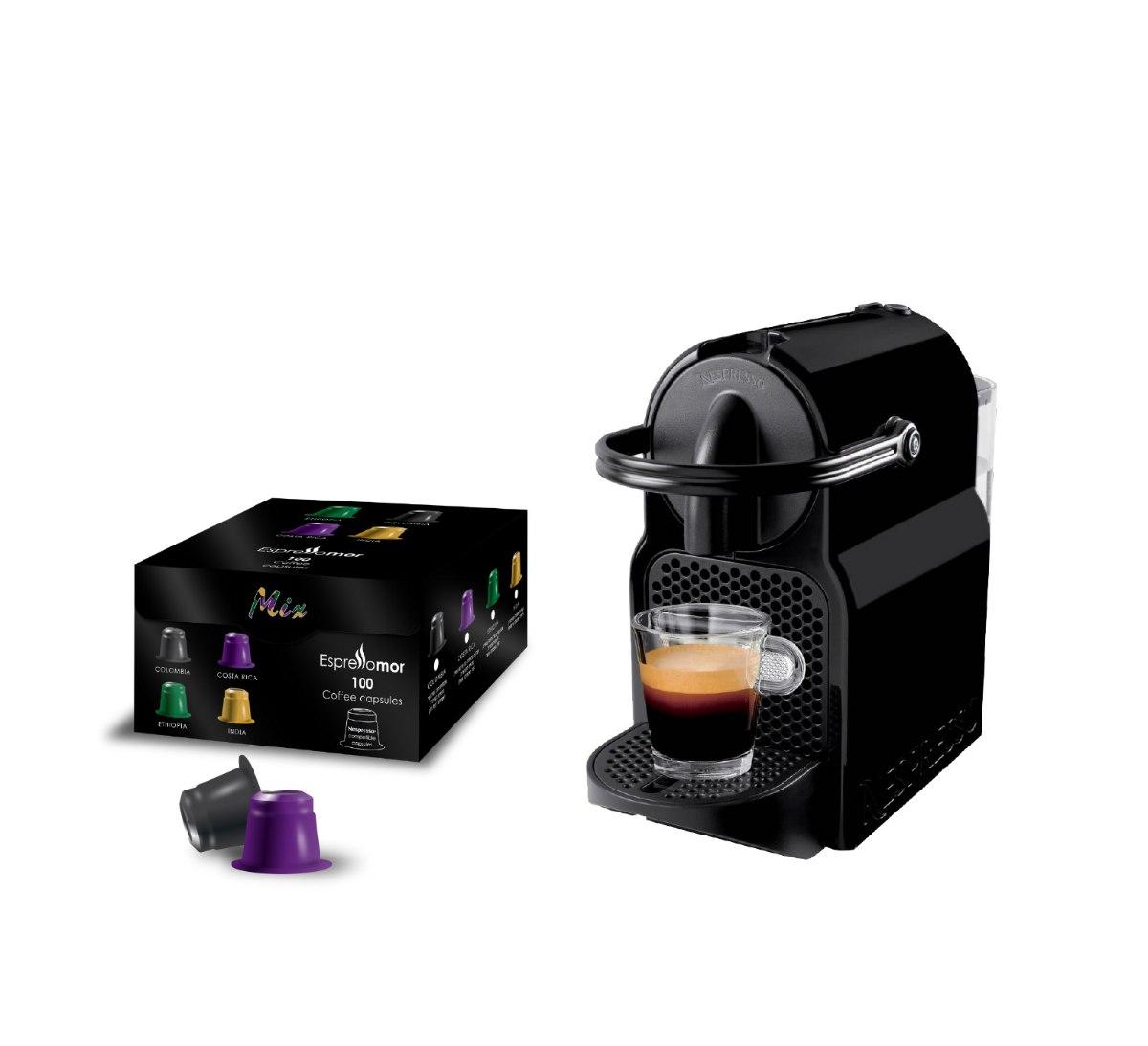 מכונת Nespresso inissiaי + 100 קפסולות תואמות MIX