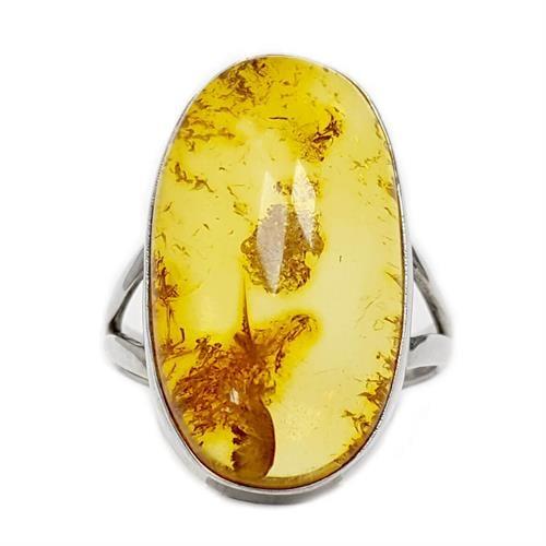 טבעת מכסף בשיבוץ ענבר צבע דבש RG5963 | תכשיטי כסף 925 | טבעות כסף