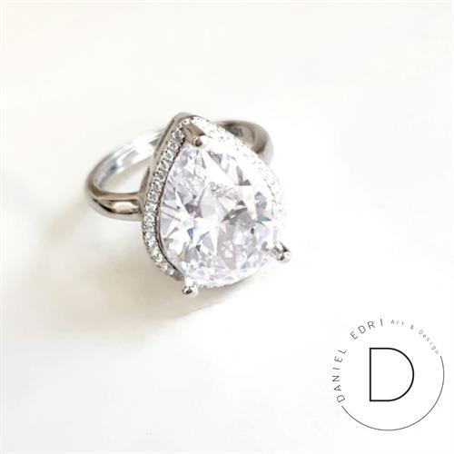 טבעת טיפה גדולה- קריסטל כסף 925