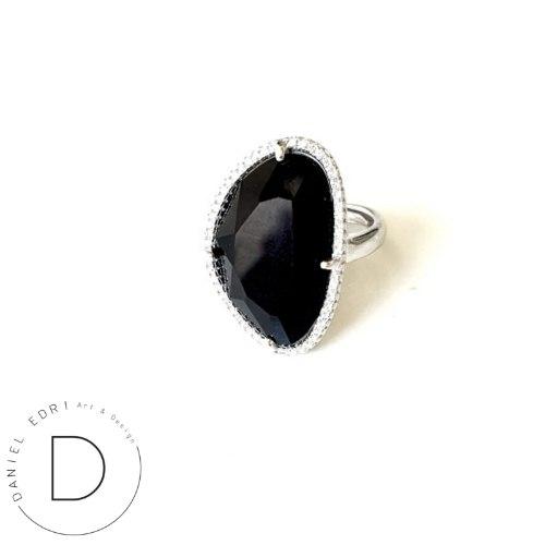טבעת גלקטיק גדולה-  כסף שחור