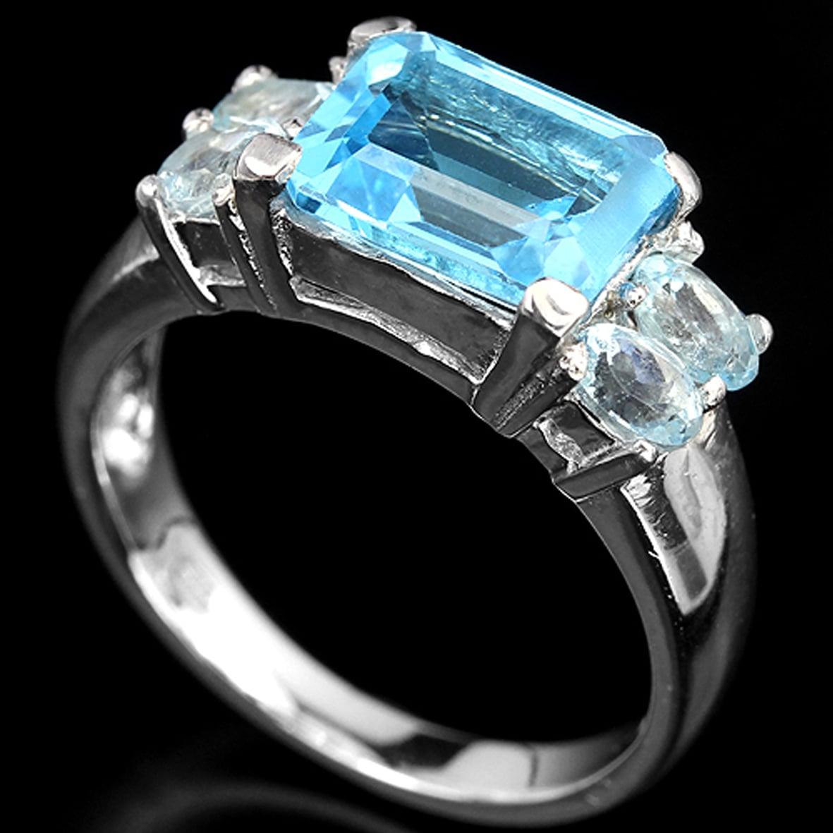 טבעת כסף משובצת טופז כחול RG2607 | תכשיטי כסף 925