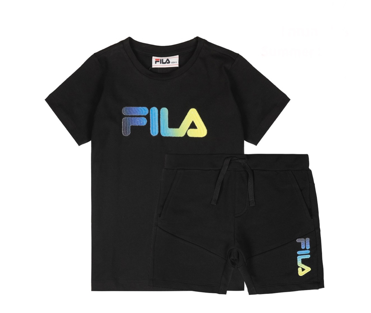 Fila חליפה שחורה לוגו צבעוני מידות 2-16