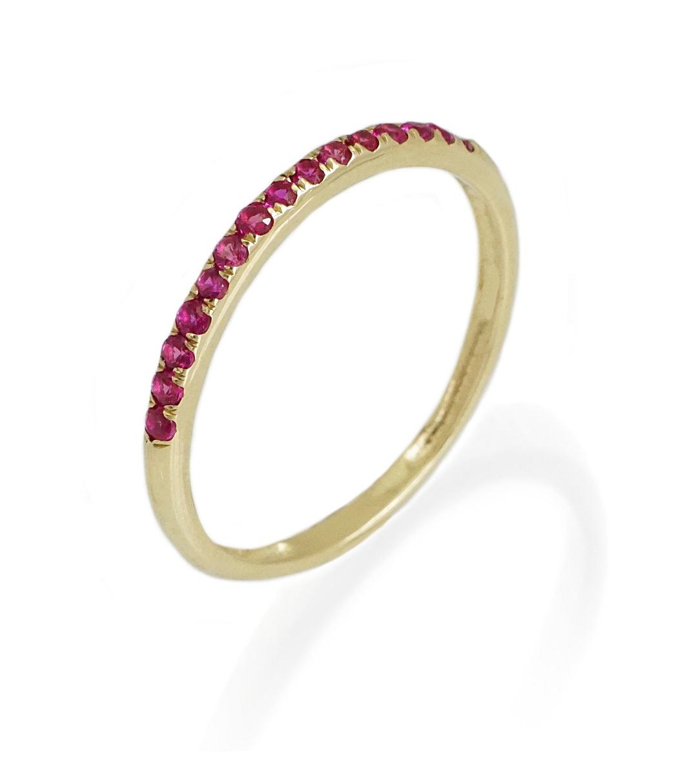 טבעת מידי זהב ואבני רובי ורודות 0.28 קראט