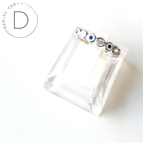 טבעת עיניים כחולות וזרקונים- כסף