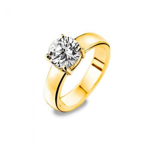 טבעת כסף טהור סטרלינג 925 שיבוץ מרכזי וציפוי זהב