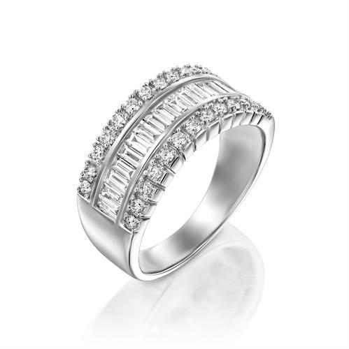 טבעת קתרינה משובצת יהלומים 1 קראט בזהב לבן או צהוב