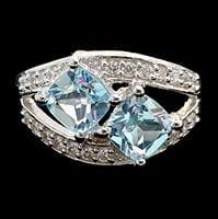 טבעת כסף משובצת טופז כחול וזרקונים RG4011 | תכשיטי כסף 925